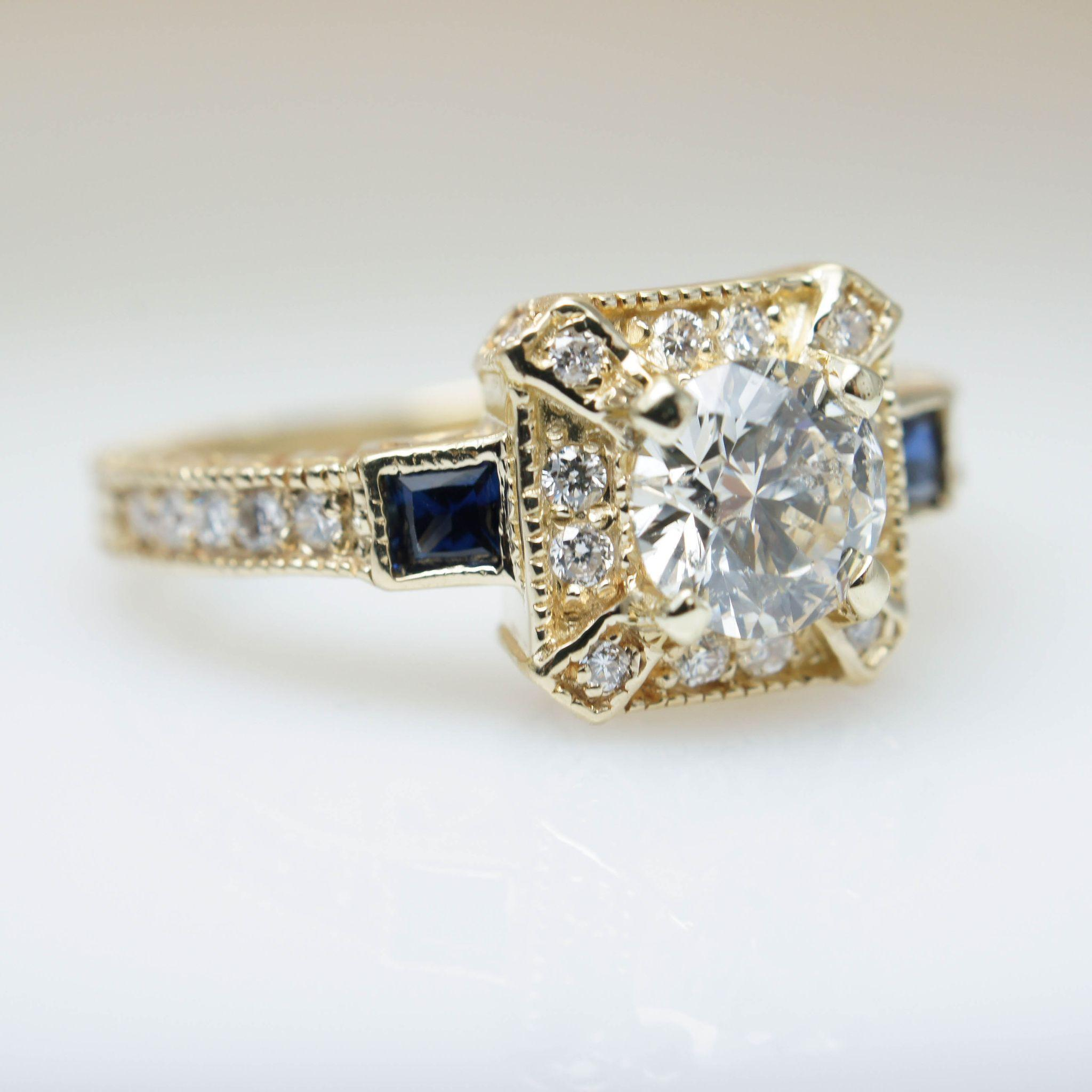 Intricate Art Deco Style 1 16ctw Diamond Engagement Ring in 14k Yellow from j