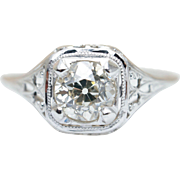 Vintage Late Edwardian .81CT Diamond Engagement Ring in 18k White Gold Intricate Delicate Ring