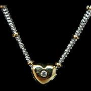 Vintage 14k Yellow & White Gold Diamond Solitaire Heart Pendant Necklace