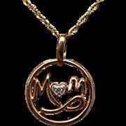 Mom Diamond Pendant Necklace Round Shape with Heart Diamond 10k Rose Gold