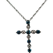 Blue & Clear Diamond Cross Pendant Necklace 14k White Gold