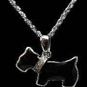 Scottie Dog Diamond & Enamel Pendant Necklace 14k White Gold
