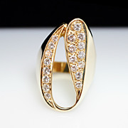 Vintage Diamond Cocktail Ring - 14k Yellow Gold - Size 8.5