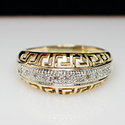 14k Yellow & White Gold Diamond Band Ring - Size 8.25
