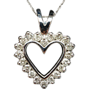 Vintage .52ct Diamond Open Heart Pendant in 14k White Gold
