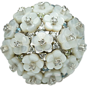 Diamond Mother of Pearl, Peridot & Blue Topaz Cocktail Ring 18k White Gold Cluster Ring