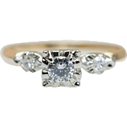1940s Vintage Art Deco Engagement Ring 14k Yellow & White Gold Mixed Metals Vintage Diamond ..