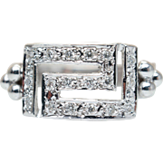 Vintage Square Face Diamond Statement Ring Band 18k White Gold