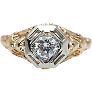 Vintage Art Deco Diamond Engagement Ring in 14k Yellow & White Gold