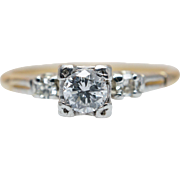 Vintage Art Deco Diamond Engagement Ring 14k Yellow White Gold