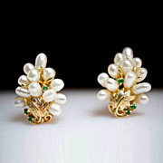 Pearl Tree- Cultured Pearl & Emerald Earrings -14K Yellow Gold