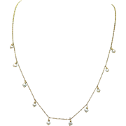Vintage 10k Yellow Gold Oval Pearl Necklace Dainty Beautiful