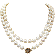 Double Strand Cultured Pearl Vintage Necklace w/ Ornate 14k Yellow Gold Diamond & Sapphire Cla