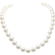 Large Cultured Pearl Necklace Pearl Statement Necklace Wedding Jewelry