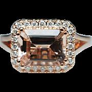 Emerald Cut Morganite Diamond Halo 14k Rose Gold Engagement Ring