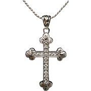 Vintage Antique Style Diamond Cross Pendant 14k White Gold