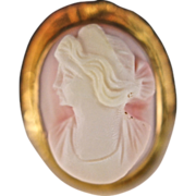 10K Yellow Gold gold Hand Constructed Agate Cameo Brooch