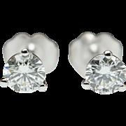 1/2cttw Natural Diamond Stud Earrings in 14k White Gold