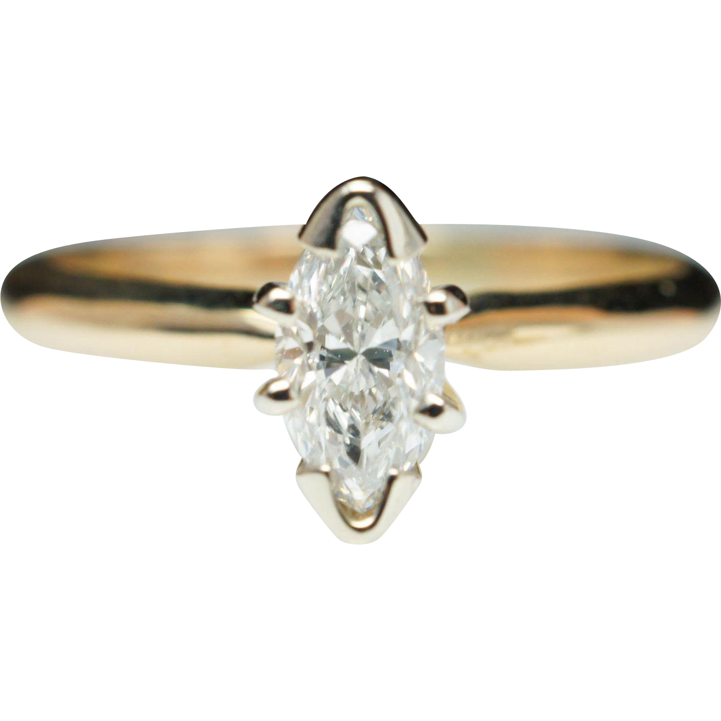 Vintage 32ctw Marquise Diamond Engagement Ring 14k Yellow Gold from jkjc on