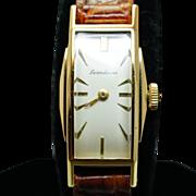 Vintage Ladies Seiko Solar Watch 18k Yellow Gold w/ Crocodile