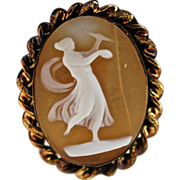 Vermeil and Shell Antique Mid Victorian Cameo Brooch