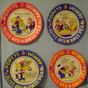 Vintage Popeye The Sailor set of four Paper Plates