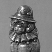 Vintage Silver Dog in Hat Vesta or Match Safe
