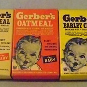Vintage Three Gerber's Miniature Cereal Boxes