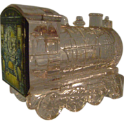 Vintage Glass Candy Container - Train/Tin Litho Back