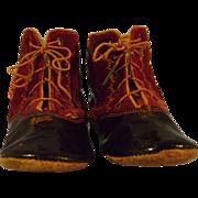 Vintage Black Patent and Red Velvet Child's Shoes