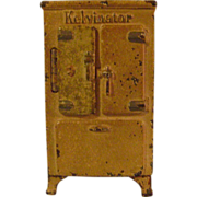 Vintage Arcade Cast Iron Kelvinator Refrigerator Bank