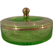 Vintage Green Glass with Silver Overlay Lidded Candy Dish