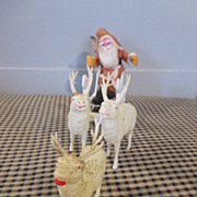 Vintage Belsnickle in Sleigh with 3 Celluloid Reindeer