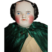 Lovely Antique Flat Top China Head Doll with Demure Expression