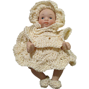 """Tiny 4"""" Bisque Artist Baby Doll in Crocheted Outfit"""