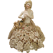 Pretty Antique Bisque German Half Doll Pin Cushion