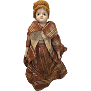 Nice Early Wax Over Paper Mache Head Doll in nice outfit