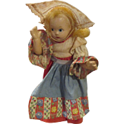 """1930's Madame Alexander 7"""" Composition Doll In Original Outfit"""