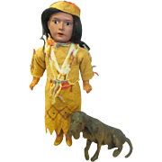 Antique Bisque Head Indian Doll with His Hound Dog