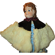 Antique Fur and Velvet Cape for Your French Fashion Doll