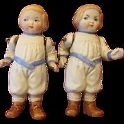 Antique German All Bisque Dolls - Identical Twins