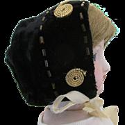 Black Velvet Bonnet for Your French Fashion Doll