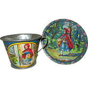 SOLD Vintage Tin Lithographed Cup and Saucer from Little Red Riding Hood by Ohio Art Co.