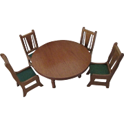 Vintage Wooden Doll House Table Set -Nicely Detailed