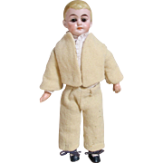 "Adorable 10"" Bisque Head German School Boy Doll"