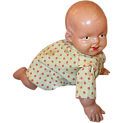 Vintage Wind-up Celluloid Crawling Baby Doll