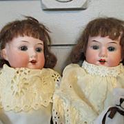 Darling Set of Antique German Bisque Head Twin Dolls