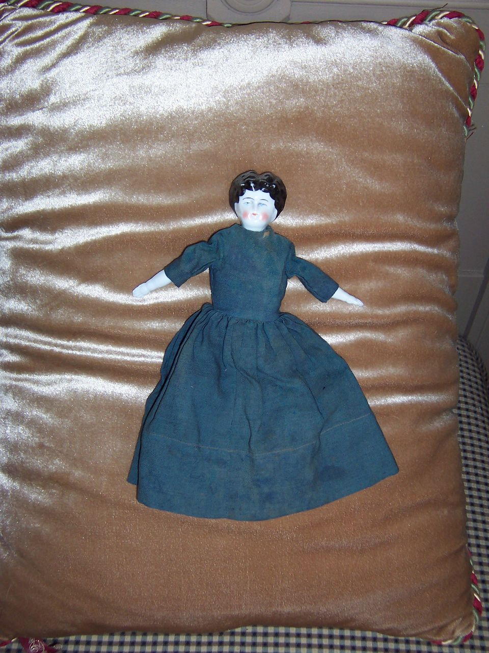 "ON HOLD FOR ELAINE - Sweet 9"" Antique China Head Doll in Green Gown"