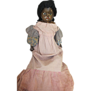 Black Paper Mache Head Doll with Interesting Look
