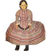 "Huge 30"" Greiner Paper-mache Doll - Glass Eyes - Lovely Clothing"